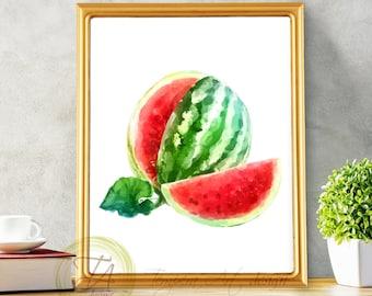 Watermelon, Watercolor Printable, Watercolor Watermelon, Watermelon print, Watermelon Art Decor, Printable Watermelon, Watermelon poster