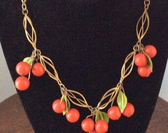 SALE Vintage Red Cherry Necklace Bakelite or Lucite and bracklet set, from, the 1930's or 40's
