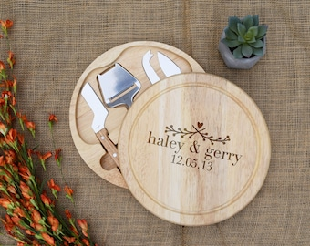 First Name & Date Round Cheese Board, Swivels Open w/ Cheese Tools, Custom Cutting Board, Personalized Cutting Board, Wedding, Bridal Shower