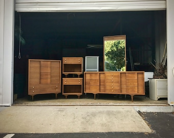 Mid Century Modern Johnson Carper Fashion Trend Bedroom Set, Dresser, Chest, Nightstands, MCM, Danish, Mid-Century, Retro, Danish Modern Bed