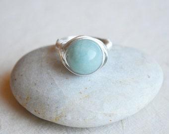 Wire Wrapped Gemstone Ring, Infinite Stone Ring, Semi Precious Ring