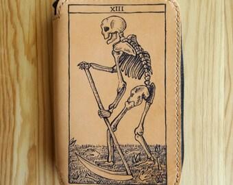 Zip leather wallet - wallet - Death tarot card