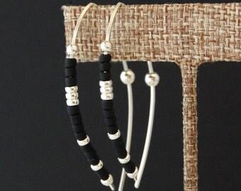 Sterling Silver Wishbone Earrings, Large Hoop Earrings, Black Hoop Earrings, Leaf Shaped Earrings, Black Threaders, Open Hoops, Gift For Her