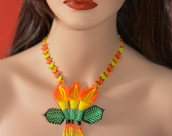 Handbeaded necklace, flower, handmade in Mexico,  multicolor beads, huichol art