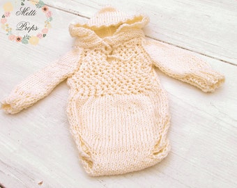 Knitted Long-Sleeved 100% Cotton Romper with Hood Newborn, Baby, Sitter Photography Prop