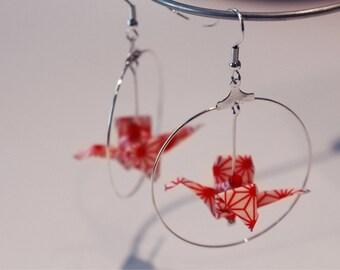 Origami Birds Earrings / Boucles d'oreilles en origami / Hoop earrings