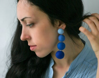 Statement earrings Lightweight earrings Long earrings Stud earrings Blue сlip on earrings dangle Felt ball earrings Handmade gifts for women