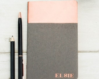 Hand Printed Copper Moleskine Personalised Notebook