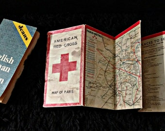 SALE WWII Jeans Translation Dictionary & American Red Cross Map of Paris