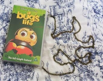 Disney's A Bug's Life video case shoulder bag, repurposed VHS handbag, clutch, retro, up-cycled