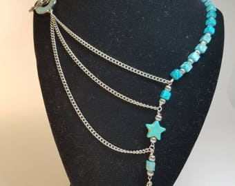 Turquoise and chain side clasp necklace