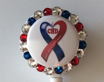 CHD Congenital Heart Disease Awareness Badge Holder with Charm/Beads