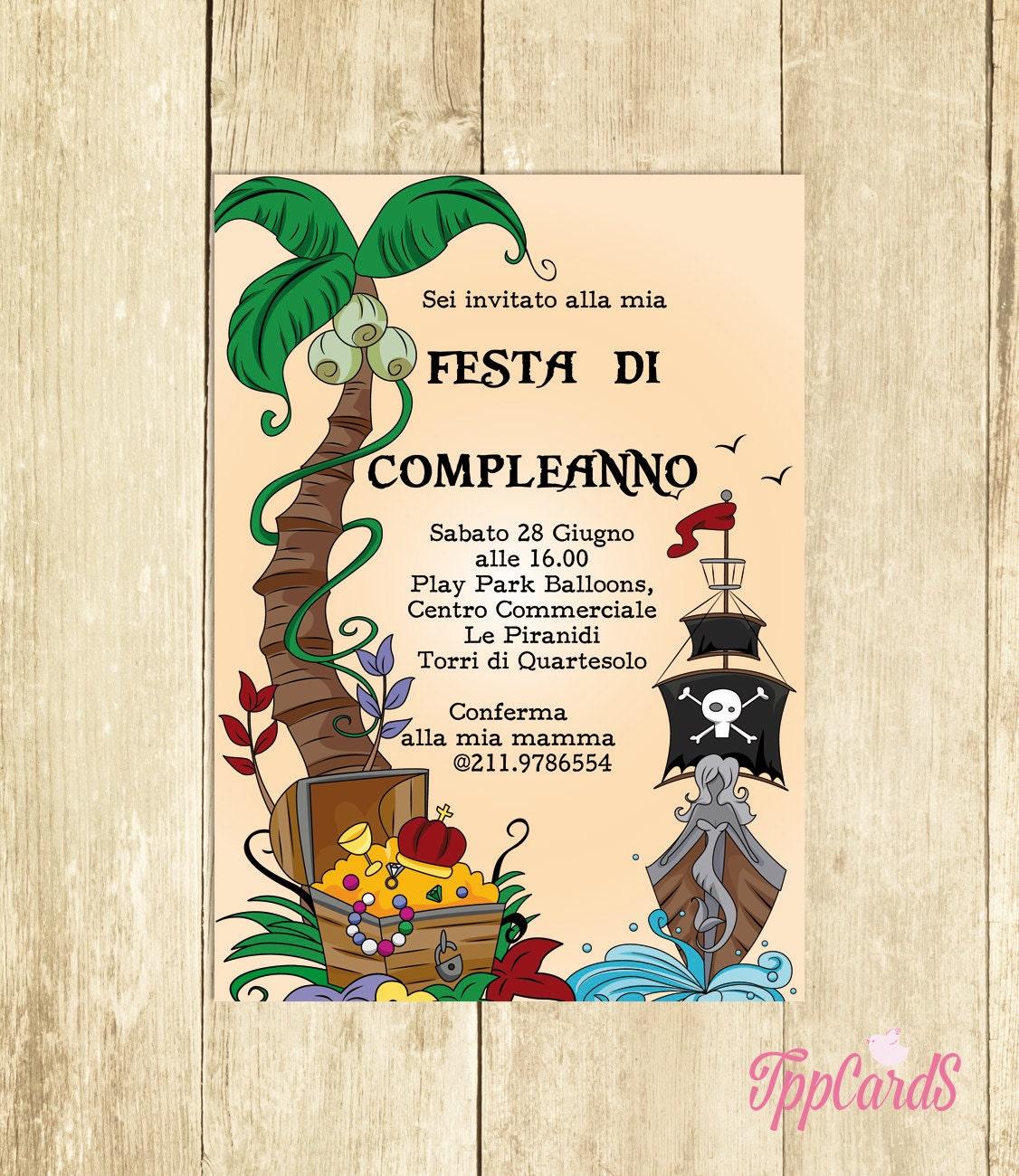 Invito compleanno pirati invito festa compleanno invito - Pirata colorazione pirata stampabili ...