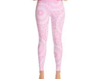 Pink Yoga Leggings. Pink Leggings. Pink and White Printed Leggings. Mandala Art Tights. Pink Stretch Pants