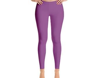 Plum Leggings - Workout Yoga Pants, Mid Rise Waist Purple Stretch Pants for Women