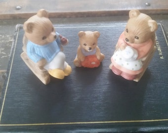 Bear figurine set of 3, Homco 1470 vintage bears, collectible ceramic bears