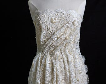 Sophie Hallette Pearl Embroidered French Lace in Ecru
