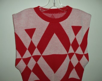 SALE 70's-80's geometric sweater vest// Red and white big pit knit kitchy vintage top// Women's size small to medium