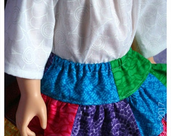 18 Inch Doll Clothes Handmade Playtime Peasant Top & Patchwork Rainbow Twirl Skirt