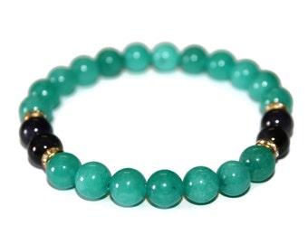 Amethyst & Aquamarine Bracelet Amethyst Bracelet Aquamarine Jewelry Meditation Stones Womens Bracelet Blue Stone Bracelet Healing Jewelry