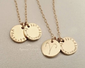 Personalized Disc Necklace | Zodiac Horoscope | Name Necklace | Roman Numerals | Graduation gift | Birthday necklace gift