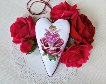 Fabric heart decoration baby girl shower baptismal gift for new baby hanging heart cross stitch red rose Angel ornament blessing gift
