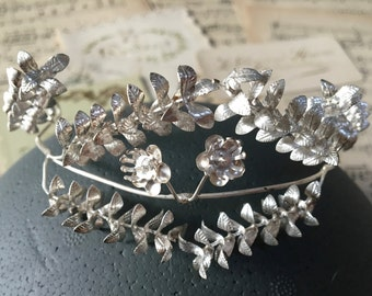 Vintage silver wedding anniversary, DIAdem, pin 1930 German Myrtle tiara, silver Crown, hair jewelry, wedding jewelry, boho headband