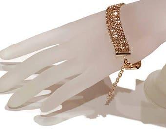 Multi-strand Bracelet - Rhinestone Bracelet - Vintage Rhinestone Bracelet - Crystal Rhinestone Bracelet - Glamour Bracelet - Multi-strand