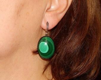 Malachite Large  Ovale Earrings, leather earrings with Malachite, green gemstone earrings, Green stone earrings