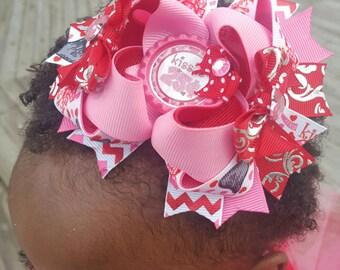 Valentine hair bow, valentine headband, valentines day gift, valentine gift, red hair bow, holiday hair bow, ott hair bow, stacked hair bow