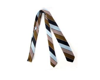 Vintage 60s Necktie - Silk Necktie - 60s Silk Necktie - Striped Necktie - 60s Skinny Tie - Shiny Silk Tie - Blue Brown Green - Mod Necktie