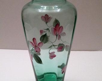 Fenton Vining Garden Sea Mist Green Vase - hand painted