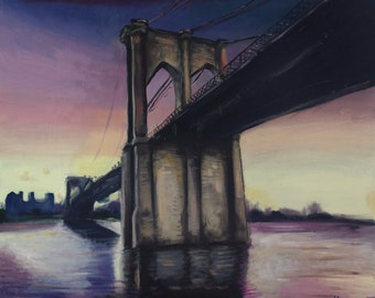 Brooklyn Bridge, from María Mediodía original oil painting
