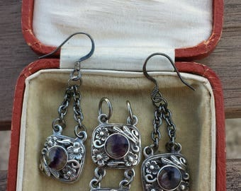 c1930s rare BERNARD INSTONE Blue John with sterling pendant and earrings set  Arts and Crafts
