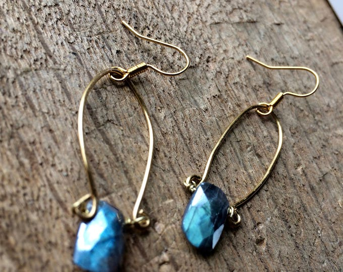 Silver Faceted Labradorite Fancy Gypsy Hammered Brass Loupe Earrings