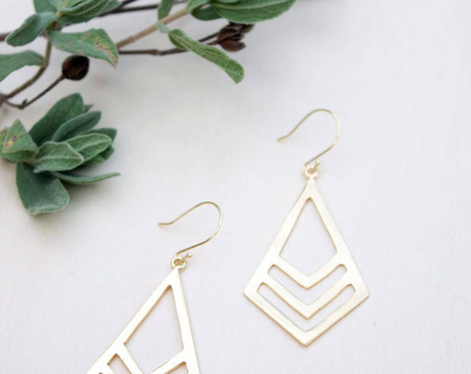 Gold dangle earrings, large gold rhombus dangle earrings, large drop earrings, rhombus gold earrings, statement earrings, gift for her woman