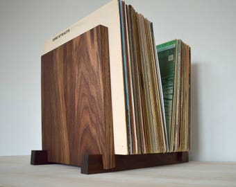 "Black Walnut Vinyl Record Storage Display | Holds 30, 40, 50 or 60 x 12"" Albums 
