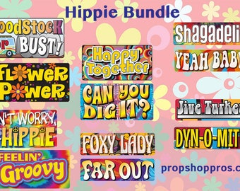 Hippie Signs | 70's Signs | Photo Booth Props | Prop Signs