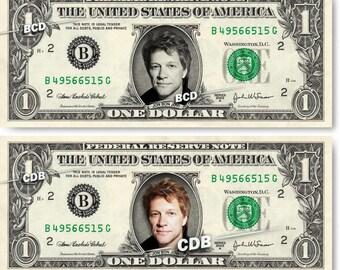 JON BON JOVI on a Real Dollar Bill Cash Money Collectible Memorabilia Celebrity Novelty