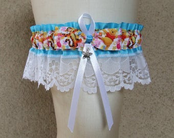 Winnie the Pooh Floral Garter in Turquoise and White / Tigger Piglet Aa Milne Blue Pink Yellow Green for Wedding or Prom Last One Available