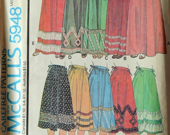 Uncut 1970s McCall's Vintage Sewing Pattern 5948, Size M; Misses' Set of Skirts