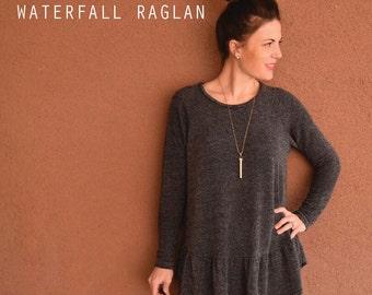 Women's Waterfall Raglan pdf sewing pattern