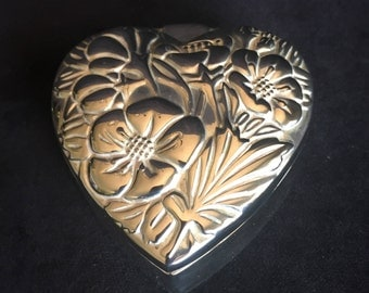 International Silver Heart Trinket Box