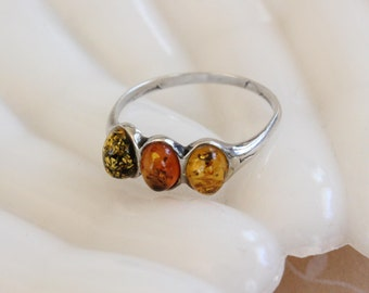 Vintage Colors of Amber and Sterling Ring Baltic Amber Three Stone Ring Size 9
