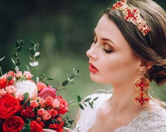Gold Red Wedding Crown Diadem Tiara Earrings swarovski crystal Siam Baroque Jewelry Set renaissance trendy Fasion Bridal present for women
