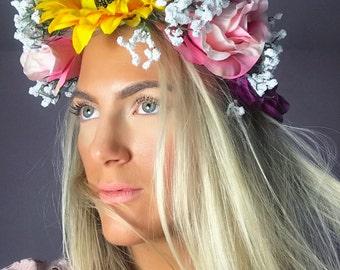 Big Sunflower White Gypsophila Pink Rose Flower Crown Hair Head Band