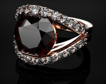 Garnet Ring Rose Gold Engagement Ring Garnet Engagement Ring Rose Gold Red Gemstone Engagement Ring Garnet Ring January Birthstone Garnet