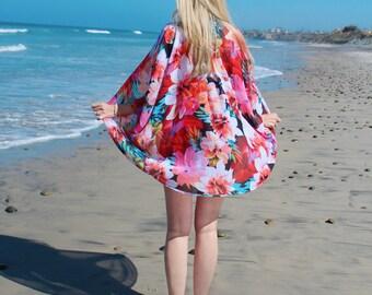 Floral Sheer Kimono, Multicolor Flower Print Kimono Cardigan