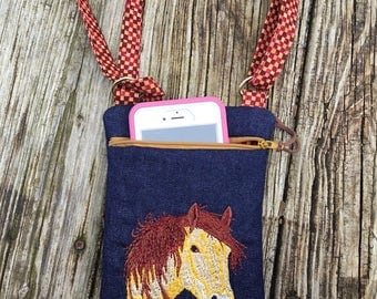 Embroidered horse mini cross body padded cell phone bag.