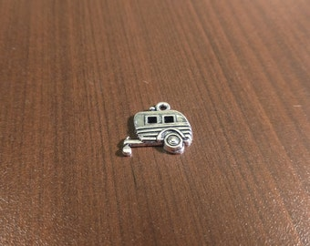 10pcs - 19mm x 18mm Antique Silver Camper Charms - RV - Travel Trailer - Camping - Campground B17